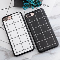 Smooth Phone Case For iphone 7 5 5s SE 6 6s 6plus 7plus Case Silicone Simple Black White Grid Soft TPU Cases Cover