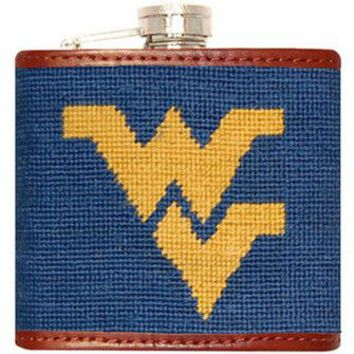 West Virginia Needlepoint Flask in Blue by Smathers & Branson