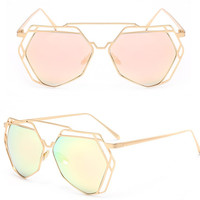 Cat Eye Sunglasses Women Classic Mirror Glasses Luxury Geometry Frame Brand Designer Eyewear