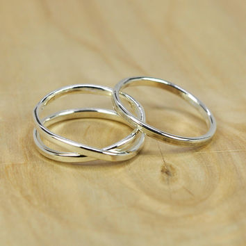 Silver Infinity Ring Plus One, Stacking Pure Silver Recycled Metal Ring, Eco Friendly Simple Everyday Ring, Sea Babe Jewelry