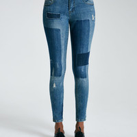 Patched Paint Splatter Girlfriend Jeans | Wet Seal