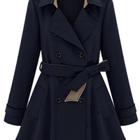 Lapel Double-Breasted Belt Trench Coat