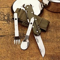Camping Utensil Set: Camping Utensils, Knife Fork Spoon Opener Corkscrew