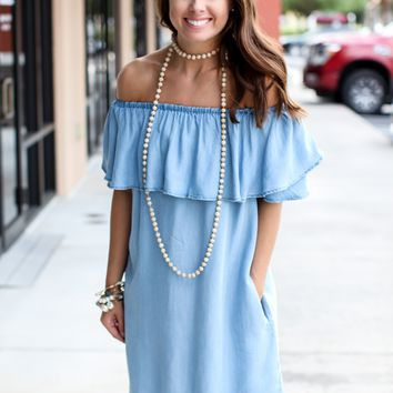 Calling You Chambray Off The Shoulder Dress