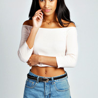 Dolly Ribbed Off The Shoulder Top