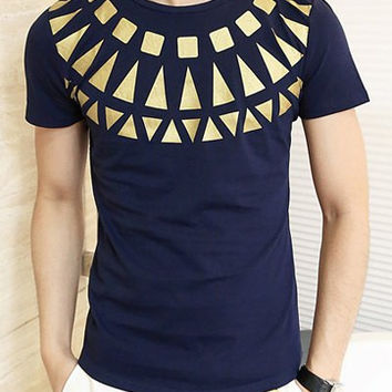 Purplish Blue Geometric Print T-Shirt
