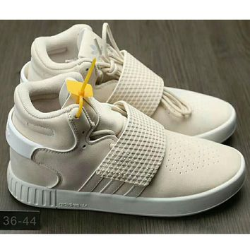 One-nice™ Adidas Originals Tubular Invader Strap Women Men Running Sport Casual Shoes Sneakers Beige I-HAOXIE-ADXJ