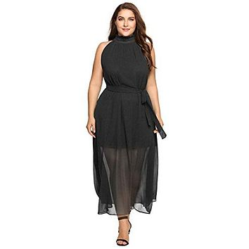 Zeagoo Womens Plus Size Chiffon Sleeveless Maxi Formal Dresses Solid Belted Party Dress