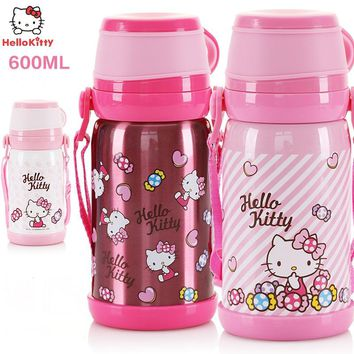 Hello Kitty Stainless Steel Water Bottle Kitty Women Vacuum Cup Cute Travel Mugs Thermo Mug Thermos Cartoon Large Capacity