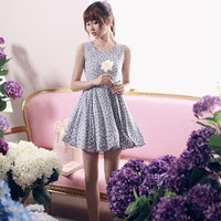 Fresh floral waist lace cotton vest dress