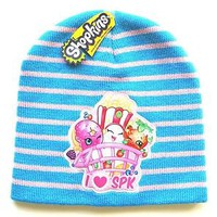 NEW Shopkins Blue & Pink Striped Knit Hat Beanie Cap Girls One Size I Love SPK