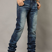 Slim Fit Bleached Denim Jeans