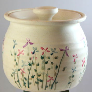 Stoneware Floral Art Pottery Biscuit Jar Canister