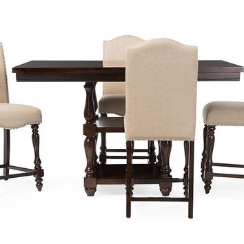 Baxton Studio Zachary Chic French Vintage Oak Brown 5-Piece Square Counter Pub Set  Set of 1