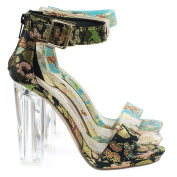 Cargo Black Phoenix By Delicious, Lucite Perspex Clear Block Heel Sandal, Oriental Stitch Embroidery