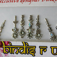 10 Long Bindis/Face Gems Jewels/Fancy Bindis Pack/Bollywood Bindi Stickers/Multi Color Bindis/Eye Forehead Belly Dance Jewelry