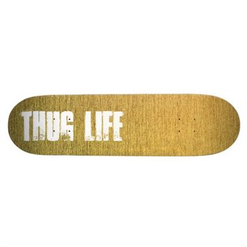 Customizable golden skateboard deck with text