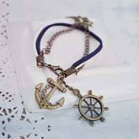 Handmade Anchor and Helm Navy Style Bracelet