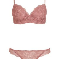 Geo Lace Balcony Bra and Thong