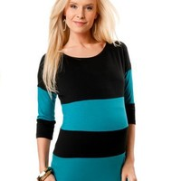 A Pea in the Pod: 3/4 Sleeve Boat Neck Striped Maternity T Shirt