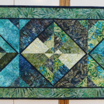 Green Batik Quilted Table runner aqua teal