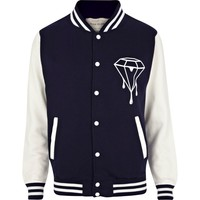 Navy dripping diamond varsity jacket