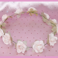 Light Pink Simple Flower Crown - Big Flowers -