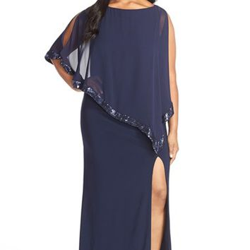 Plus Size Women's Xscape Jersey Gown with Sequin Trim Chiffon Overlay,