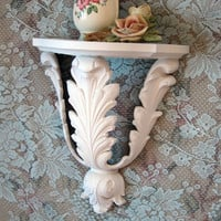 Shabby Chic White Accent Shelf Ornate Vintage Homco Hollywood Regency