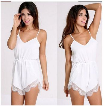 Womens Cool Basic Lace Strap Romper