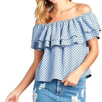 LL Women's Double Ruffle Off Shoulder Polka Dot Top