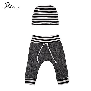 Pudcoco 0-18M Cute Newborn Baby Boys Cotton Belt Bottom Long Pants+Striped Hat Autumn Warm Outwear For Baby Boys Outwear New Hot