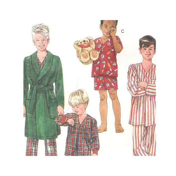 McCalls 6212 Sewing Pattern Boys Robe with Tie Belt  Pajamas with Long Pants or Shorts Size Medium 8-10