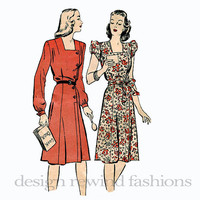 1940s Asymmetrical Button Front DRESS w/ Puff Sleeves Collerless Square Neckline Frock Butterick 3449 UNCUT Vintage Sewing Pattern Bust 36