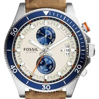 Men's Fossil 'Wakefield' Chronograph Leather Strap Watch, 45mm