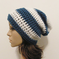 LazyDay Slouch Beanie  Sapphire and White