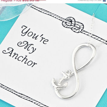 4th of July Sale Anchor Infinity Pendant w/gift box - You're My Anchor - Anchor Pendant - Nautical Jewelry - Anchor Sayings - Anchor Jewelry