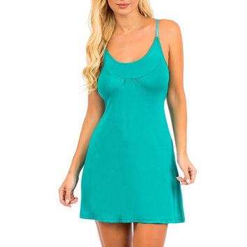 Cut Out Back A-Line Casual Dress in Teal