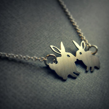 Silver rabbit necklace  bunny jewelry  kissing by UntamedMenagerie