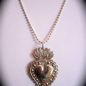 "Intricate 2.5"" SACRED HEART Milagro Pendant and 22"" sterling silver plated necklace- Perfect for your holiday gift giving"