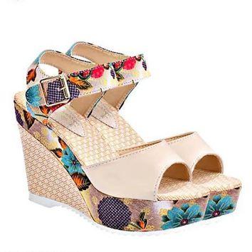 US SIZE Women's High Wedge Sandals Waterproof Floral Shoes