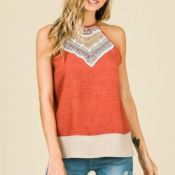 Rust and Beige Sleeveless Summer Top