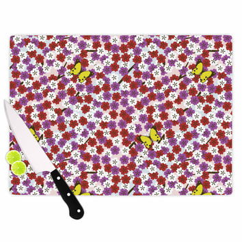 """Setsu Egawa """"Cherry Blossom And Butterfly"""" Red Pink Cutting Board"""