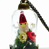 Gnome Necklace, Terrarium Jewelry, Garden Gnome, Flower Jewelry, Fantasy Necklace, Dried Flowers, Preserved Moss, WoodlandJewelry