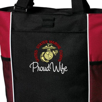 Proud Marine Wife USMC Custom Embroidered Tote Bag Military Pride Troop Support