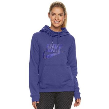 NIKE Women's Sportswear Funnel Neck Hoodie, Dark Purple Dust