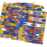 20% OFF SALE 1960s Vintage southwestern fabric / gold, red and blue tribal print / J Manes fabric