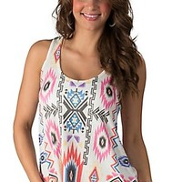 Karlie Women's White with Multi Aztec Tissue Knit Sleeveless Tank Top