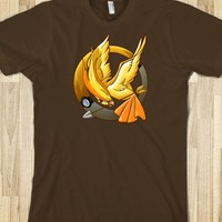 POKEMON POKEBALL hunger game mockingjay YELLOW PHOENIX POKEGAME TEE TSHIRT