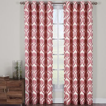 Poppy 108x120 Jacqueline Jacquard Grommet Curtain Panels (Set of 2)
